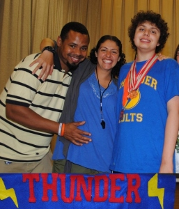 Me, J and Big J at the end off year sports banquet for J's team. Photo courtesy of Stacey Orzell